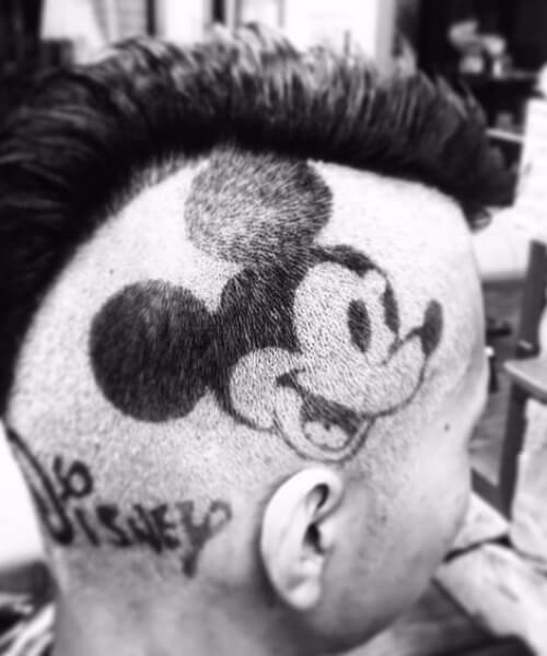 the mickey mouse hair designs for men