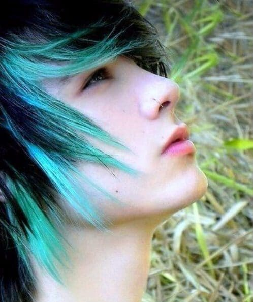 black and mint emo hairstyles for guys