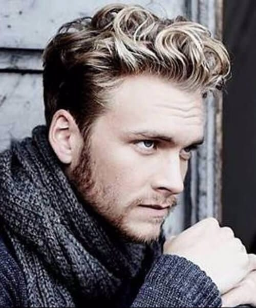 blonde short curly hairstyles for men
