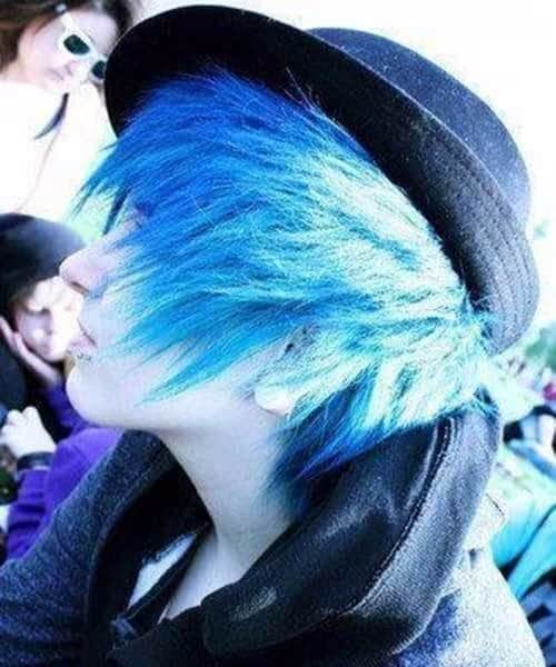 blue emo hairstyles for guys