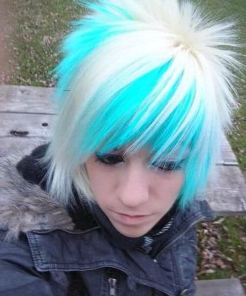 blue ice and platinum emo hairstyles for guys