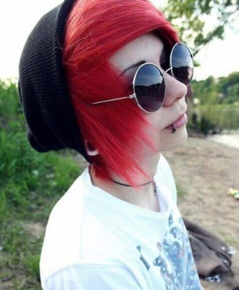 bottle red emo hairstyles for guys