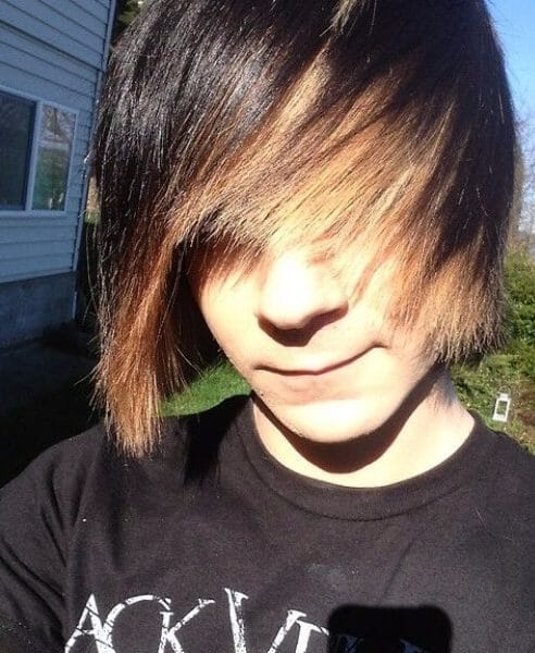 dark blonde ombre emo hairstyles for guys