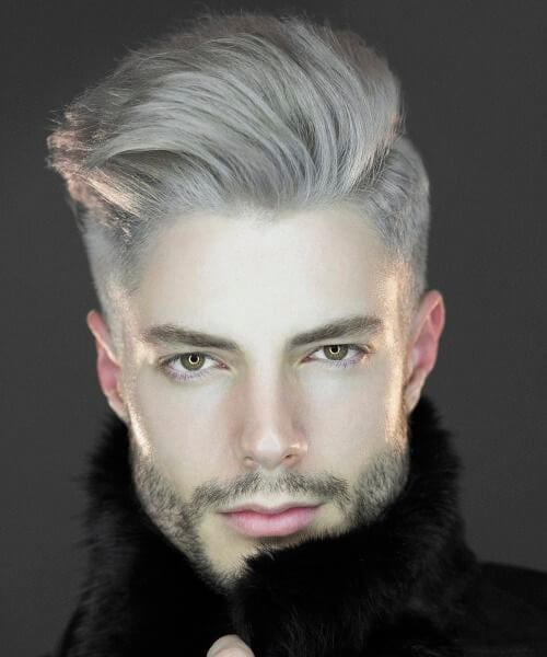 glamorous gray shaved hairstyles for men
