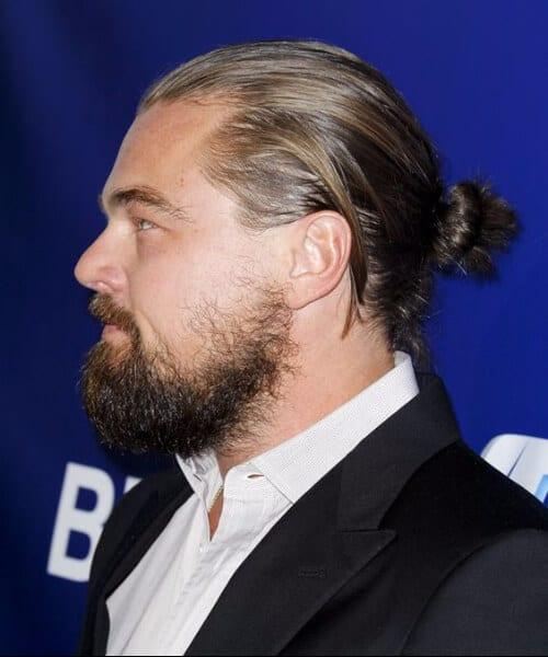 leonardo dicaprio man bun hairstyle