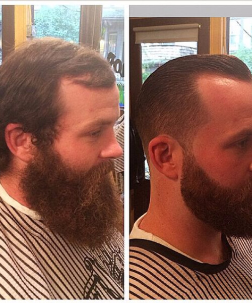 off the face taper fade with slicked back pompadour and beard hairstyles for men with receding hairlines