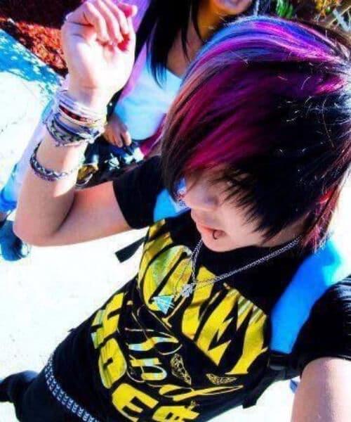 purple rainbow emo hairtsyles for guys