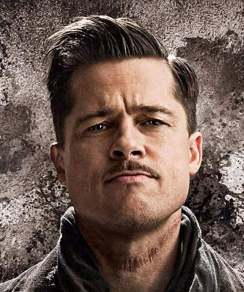 brad pitt fury side part hairstyles
