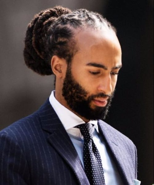 Formal oversized bun Long Hairstyles for Black Men