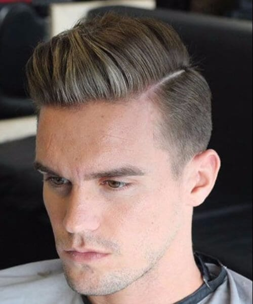 Hard Part Comb Over low fade haircut