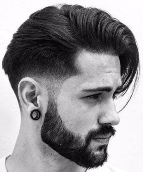 Low Taper Fade with Long Comb Over and Beard low fade haircut