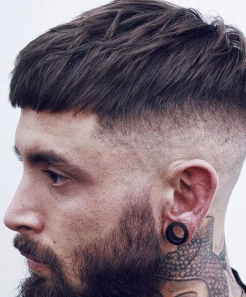 Short French Crop with High Bald Fade low fade haircut
