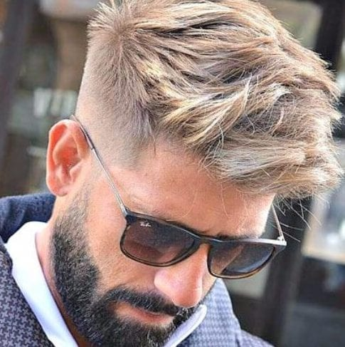 blonde hair black beard undercut with beard