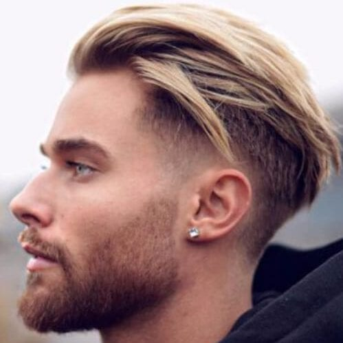 blonde layered slick back undercut with beard