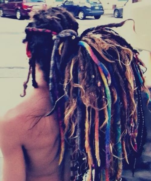 colorful yarn dreads long hairstyles for black men