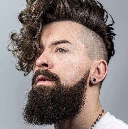 curly fauxhawk undercut with beard