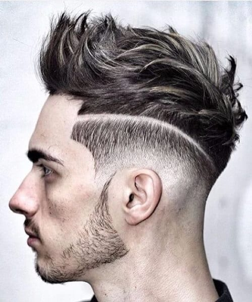 disconnected low fade haircut