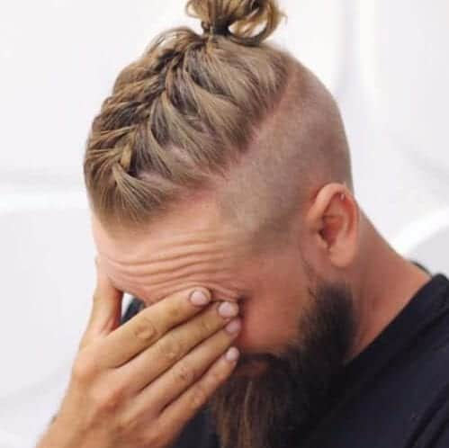 french braid undercut with beard