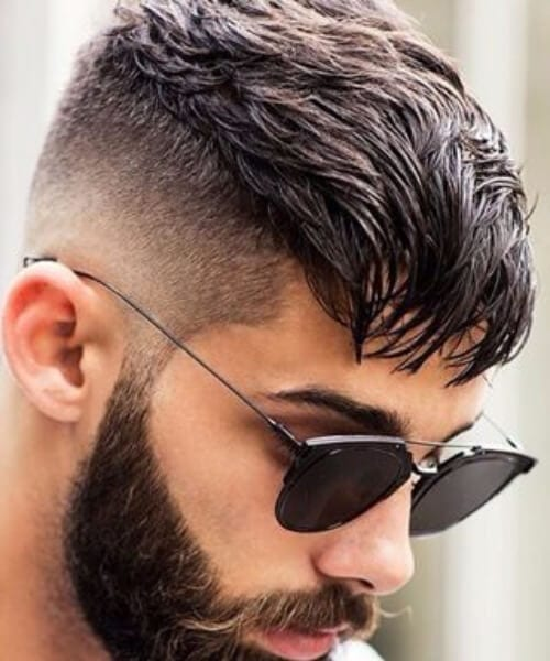gelled low fade haircut