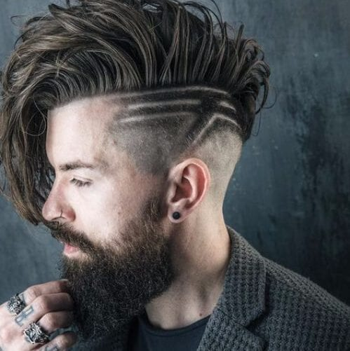 hair design undercut with beard