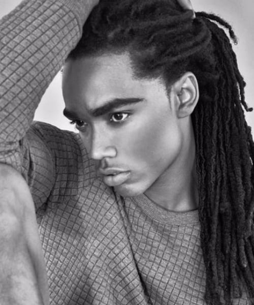 half up half down long hairstyles for black men