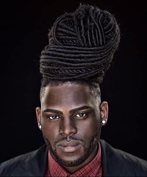 high bun long hairstyles for black men