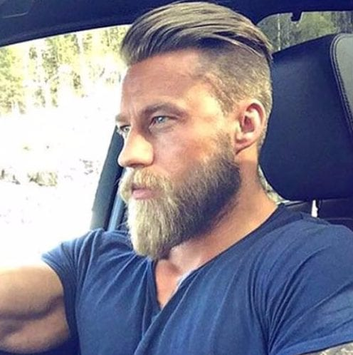 high pompadour undercut with beard