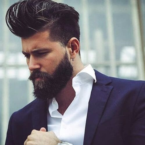 high quiff undercut with beard