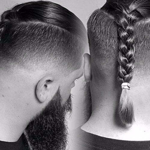 man braid undercut with beard