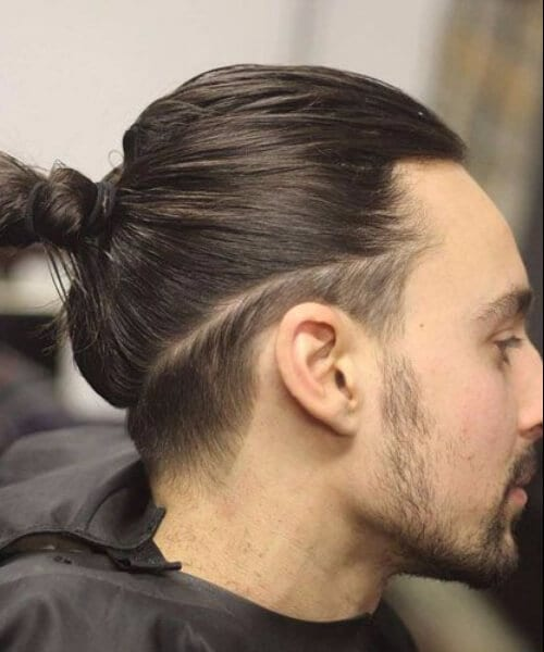 man bun low fade haircut