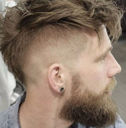 messy fauxhawk undercut with beard