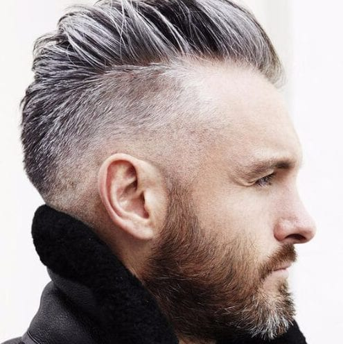 salt and pepper mohawk undercut with beard