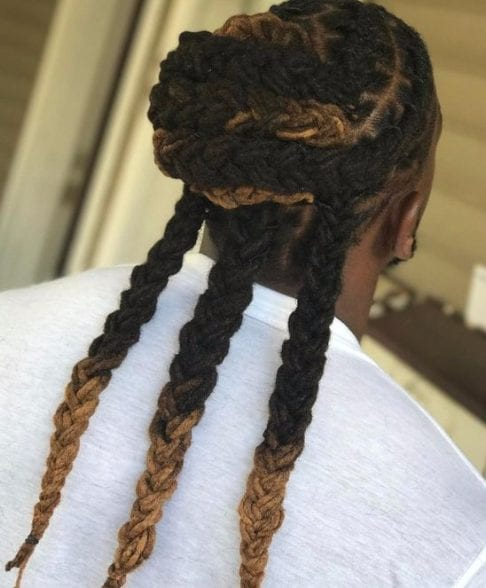 three braids long hairstyles for black men