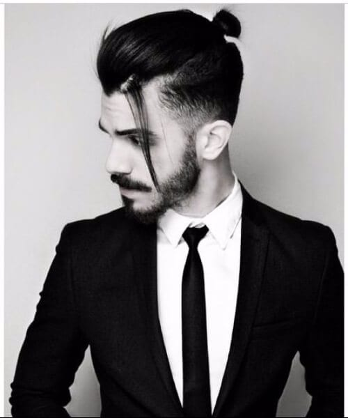 top knot low fade haircut
