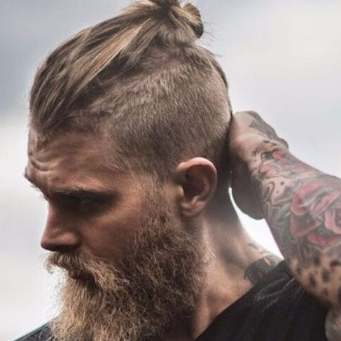 top knot undercut with beard