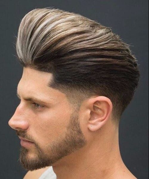 very high pompadour low fade haircut