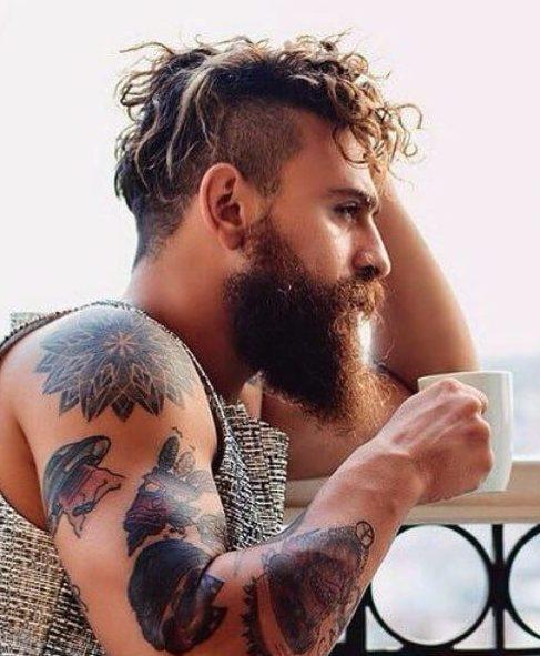 beard undercut with curly hair