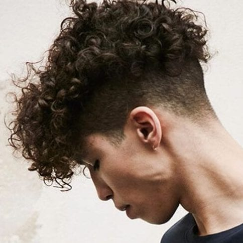 flat top undercut with curly hair