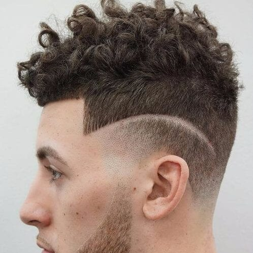 hair design undercut with curly hair