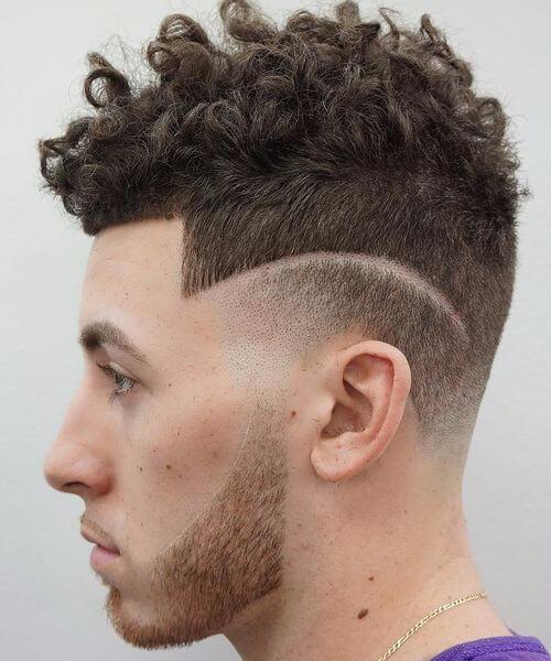 hair design undercut with curly hair
