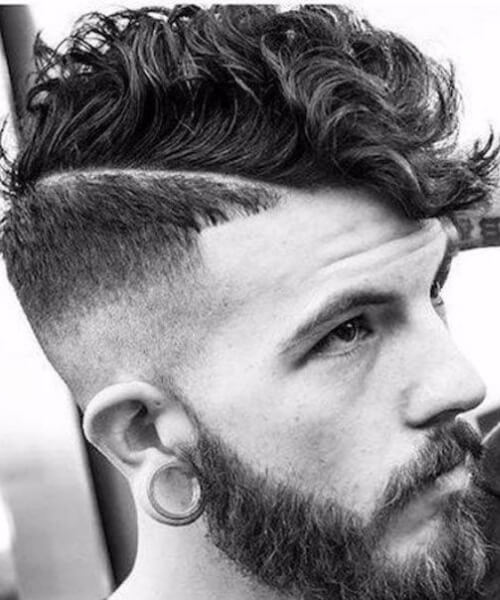 hard part undercut with curly hair