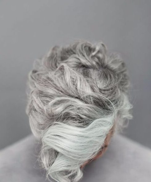 silver undercut with curly hair