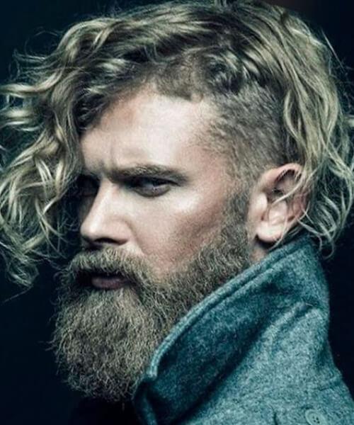 viking undercut with curly hair