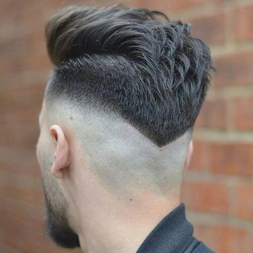V Shaped Neckline Bald Fade With Beard