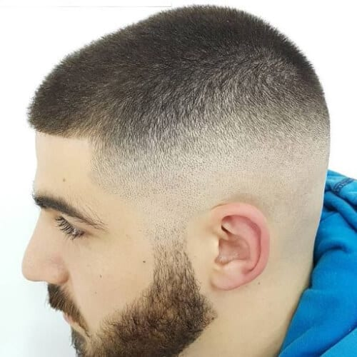 buzz cut bald fade with beard