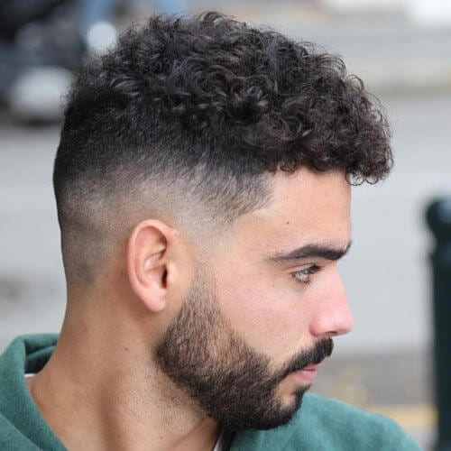 Curly Bald Fade With Beard