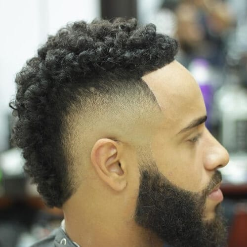 Curly Fauxhawk Bald Fade With Beard