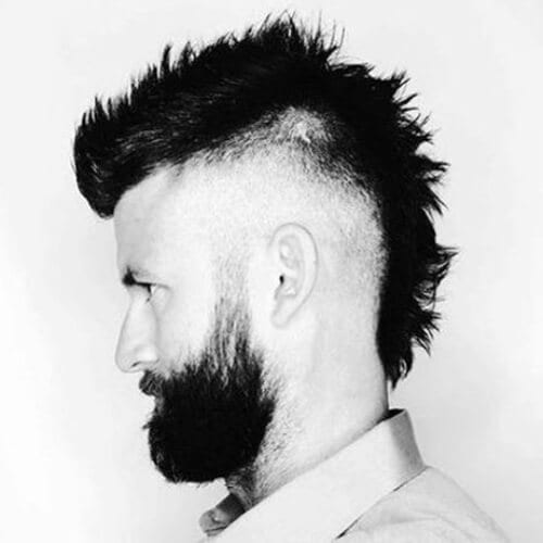fauxhawk bald fade with beard