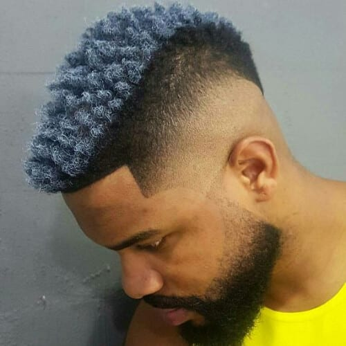 gray curly hairstyles for black men