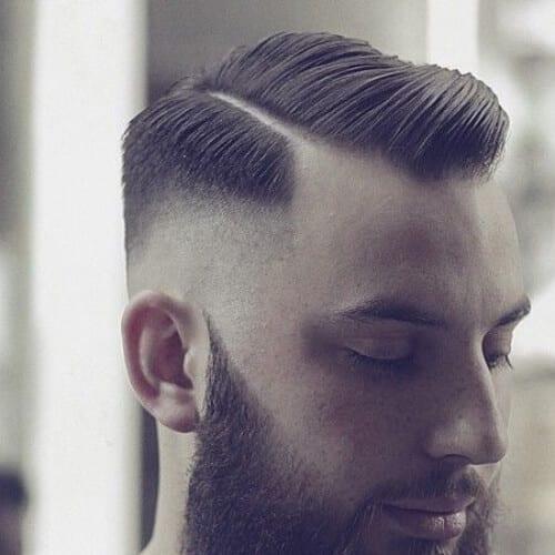 hard part comb over bald fade with beard